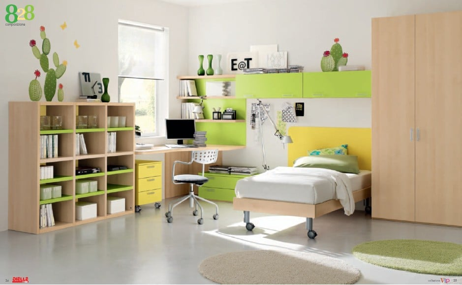 green-colour-kids-bedroom