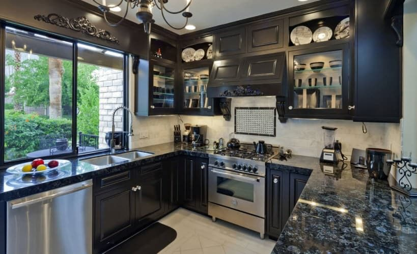 remarkable kitchen with dark cabinets and dark counters