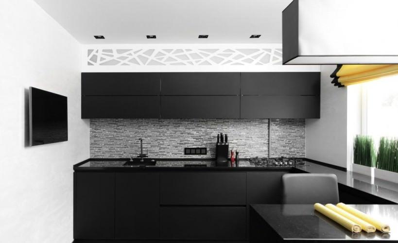 elegant kitchen with black cabinets