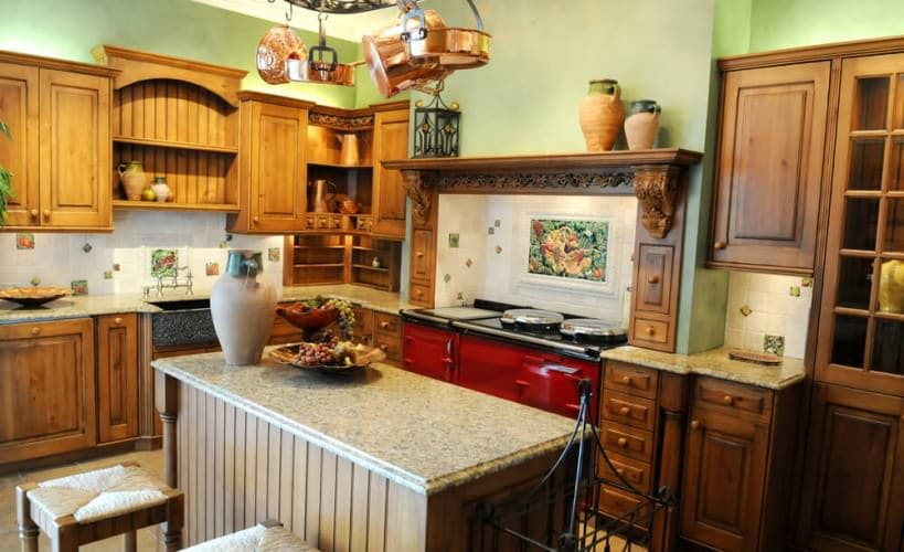 country kitchen designed with rich, traditional colors