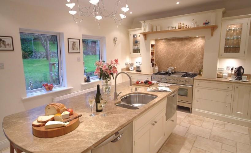 cream olive white kitchen with floor tiles