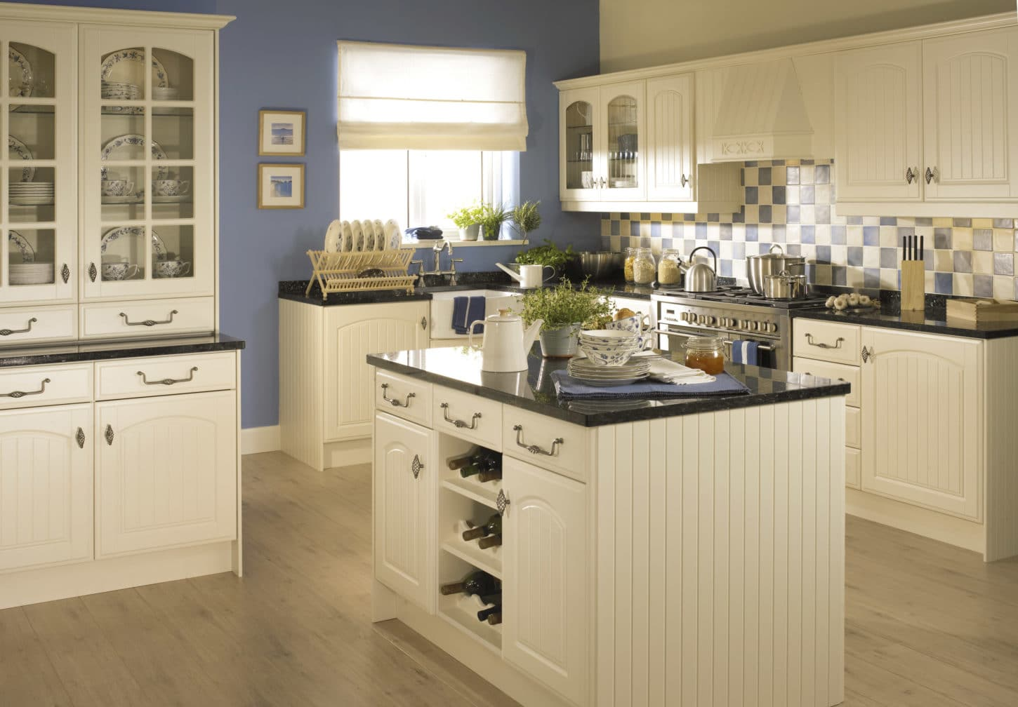 elegant cream kitchen with a touch of blue color