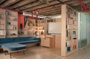 DIY-basement-remodeling-with-wooden-bookshelves