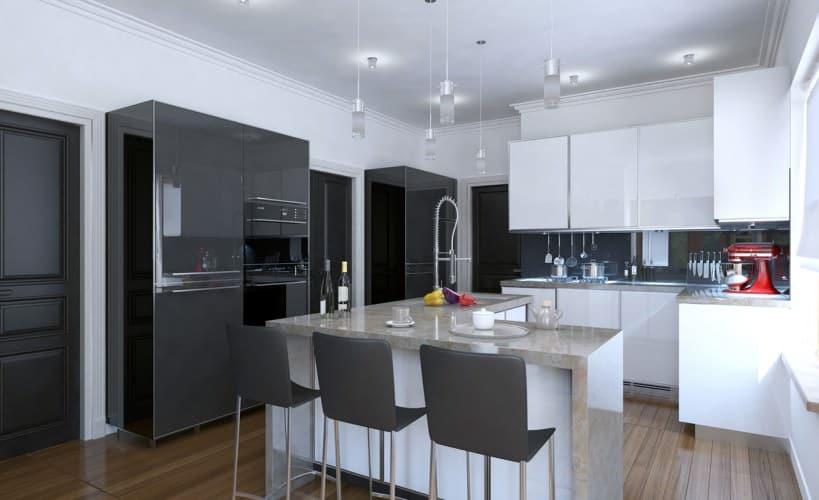 gorgeous modern gray and white kitchen