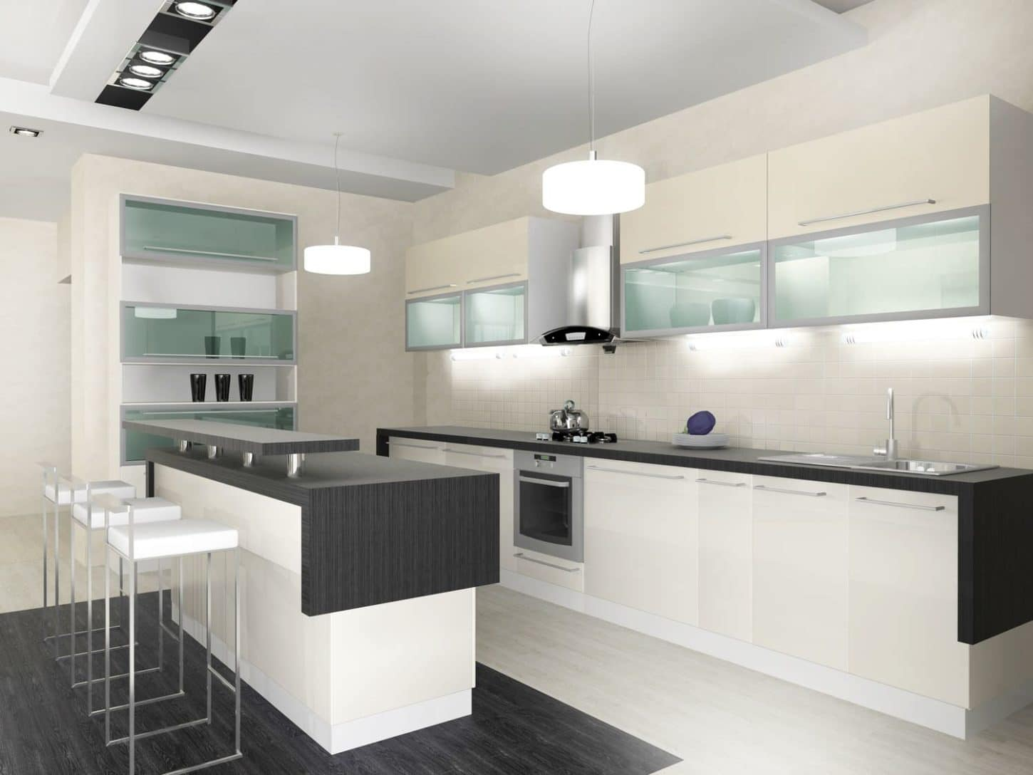 very clean-looking gray and white kitchen