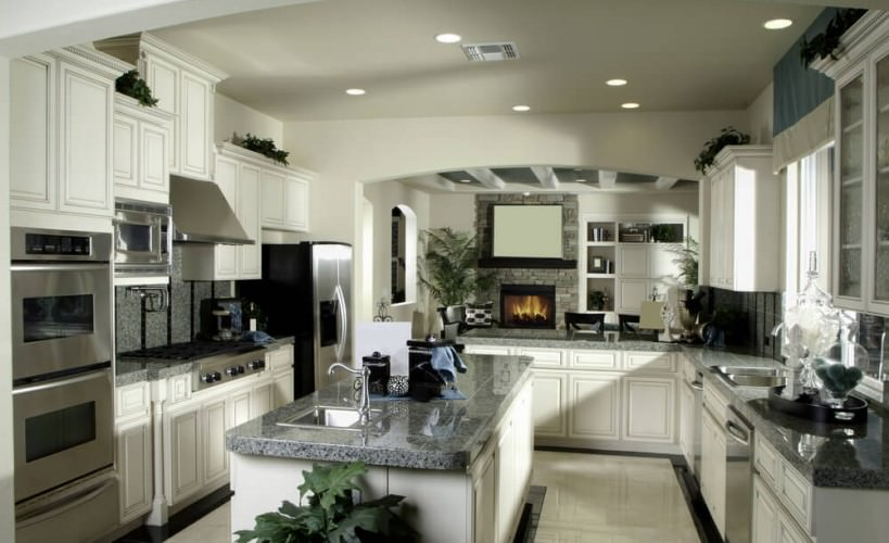 gender-neutral and attractive gray and white kitchen