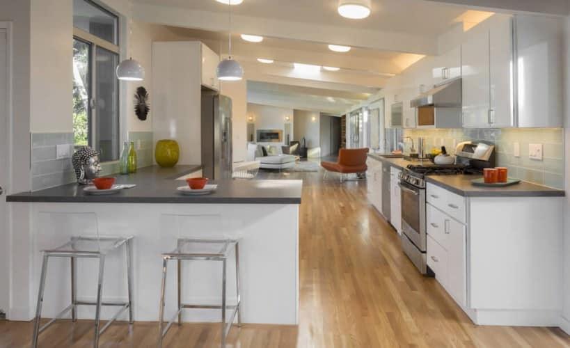 homey gray and white kitchen