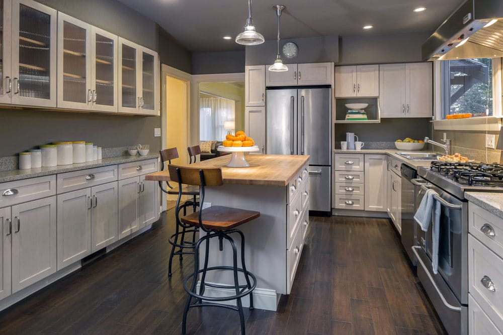 clutter-free gray and white kitchen