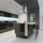 gray and white kitchen using minimalist details