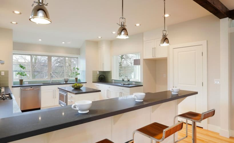 unique gray and white kitchen using modern finishes and materials