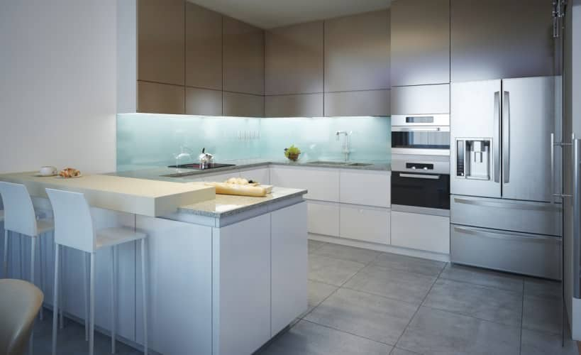 gray and white kitchen design which makes quite a bold statement