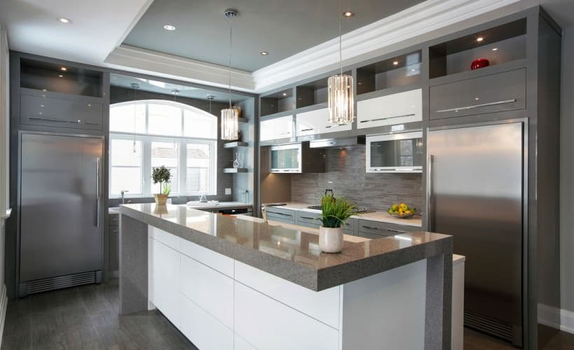 lovely example of a modern gray and white kitchen