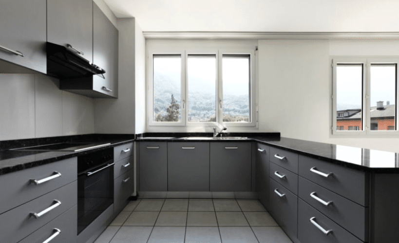 new apartment with sharp grey kitchen design