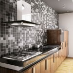kitchen with grey splashback on tiles