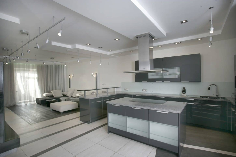 large open plan gray kitchen