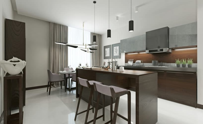 striking grey U-shaped kitchen
