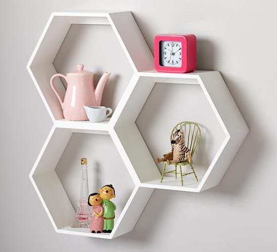 Honeycomb Wall Shelf, White