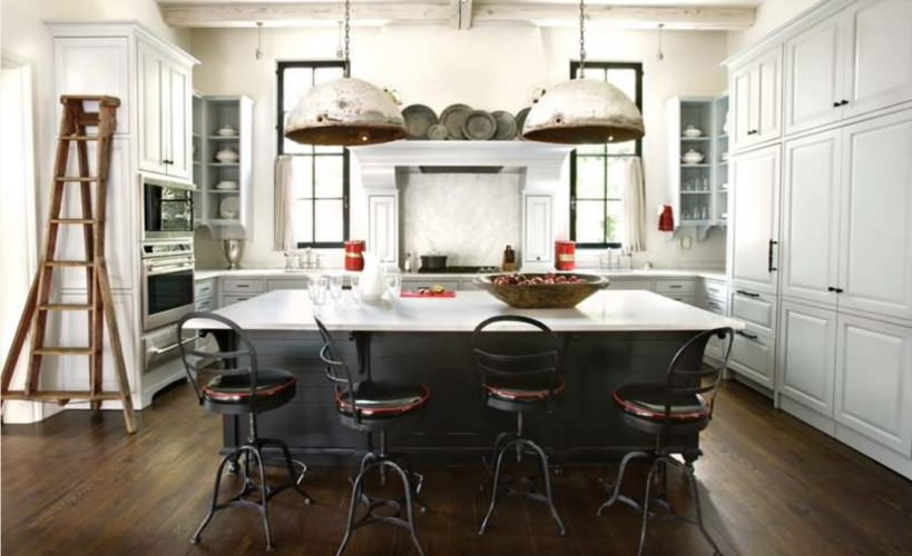 spectacular industrial kitchen with unique pendant light