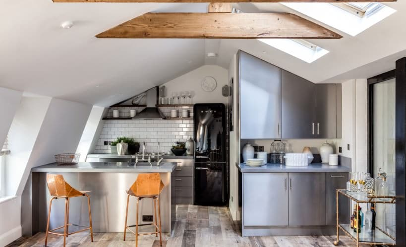 captivating small attic industrial kitchen