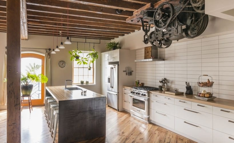 traditional fully-functional industrial kitchen