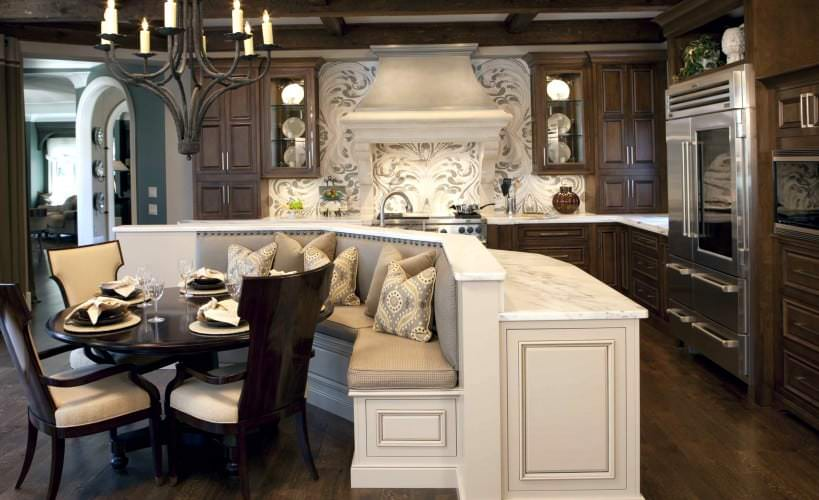 curved kitchen island, round table, kitchen bench seating