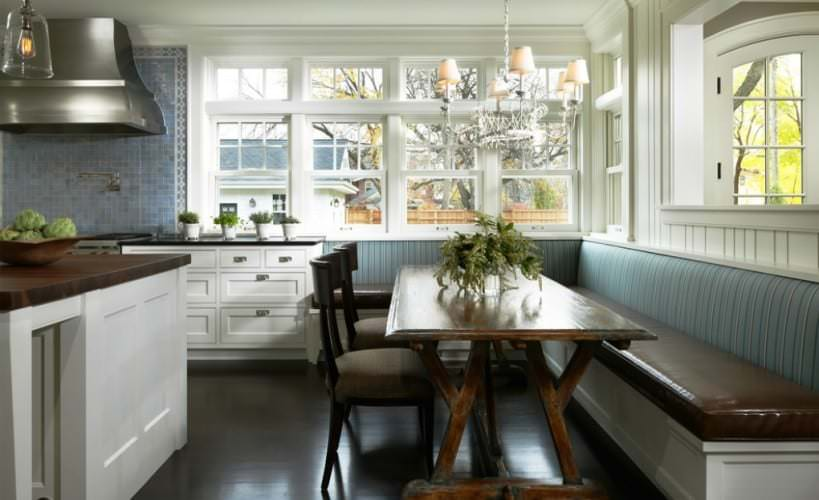 kitchen bench seating brings a little rustic to the modern lines