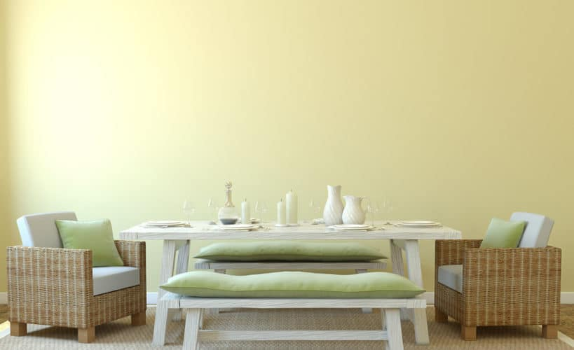 kitchen bench seating idea which adds a pop of color to the space