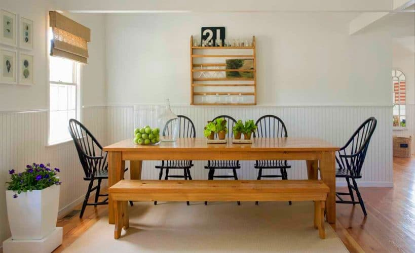 wooden kitchen bench seating that slides under table