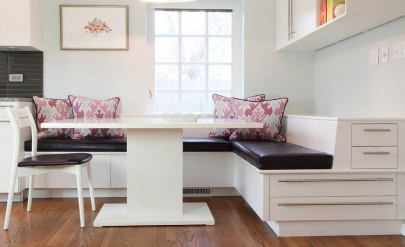 kitchen bench seating with handy storage drawers