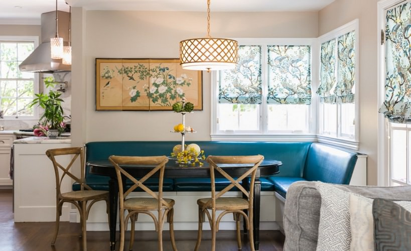 kitchen bench seating with blue leather