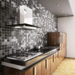 dark tiles and efficient kitchen sinks