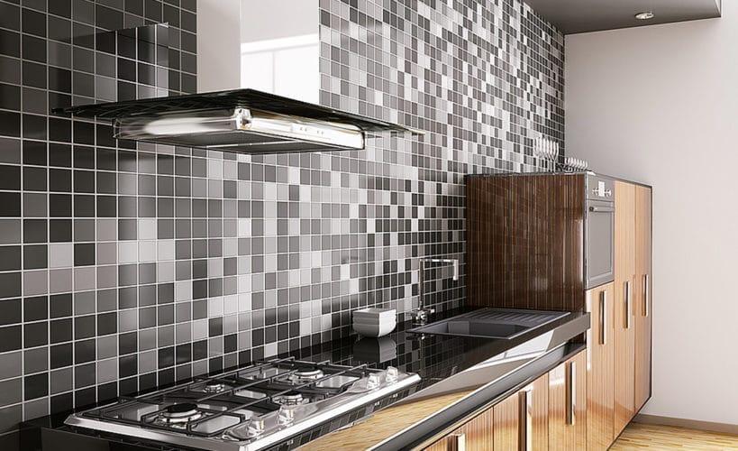dark tiles and efficient kitchen sinks