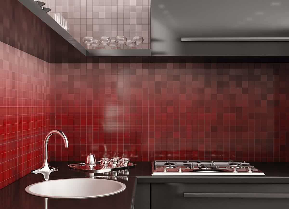 red gradient mosaic kitchen wall tiles