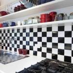 striking black and white kitchen wall tiles