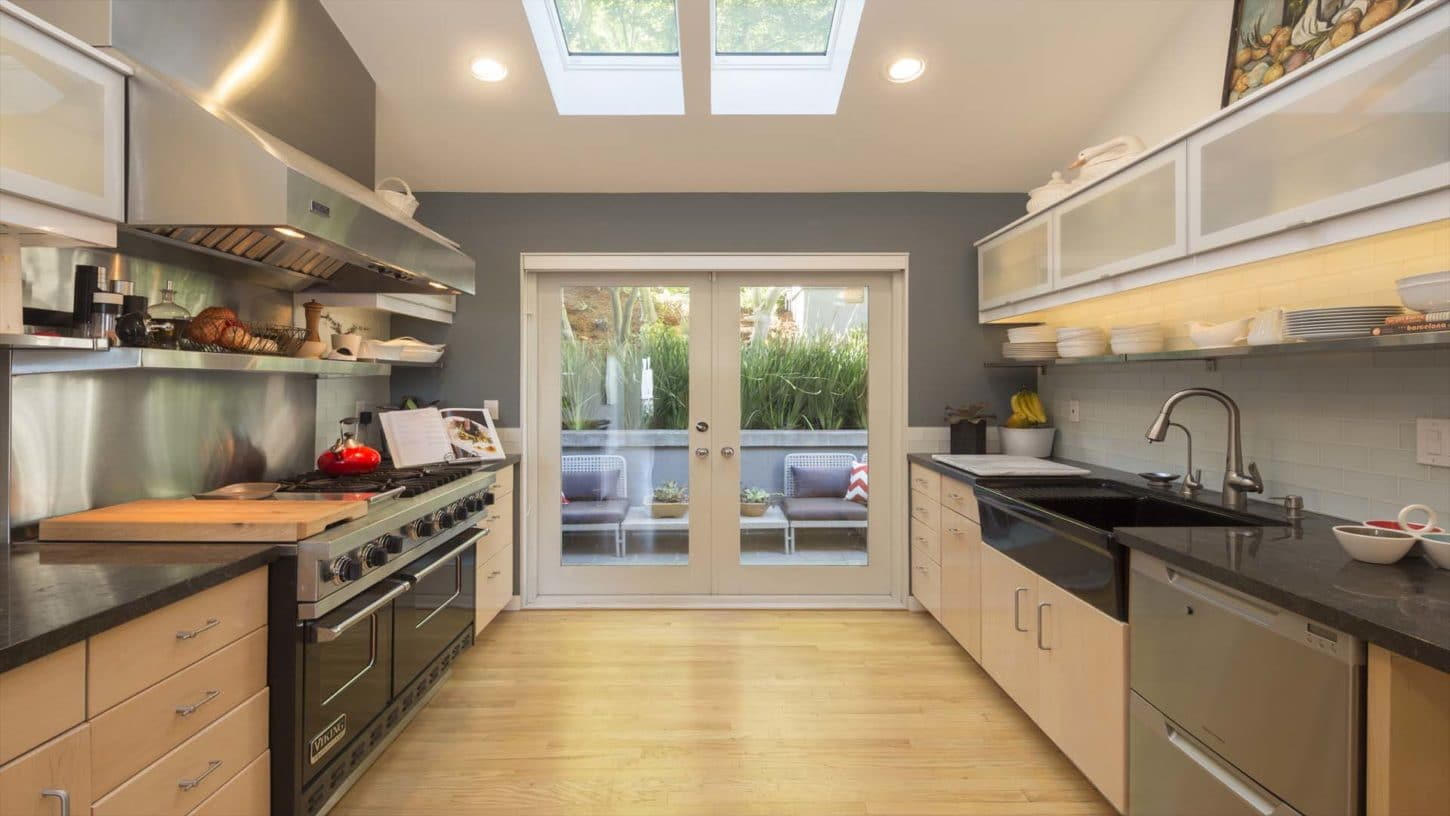 modern kitchen with adequate lighting and allows you to freely move around