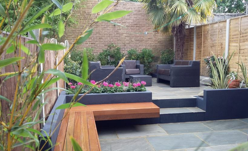 Modern garden design London natural sandstone paving patio design