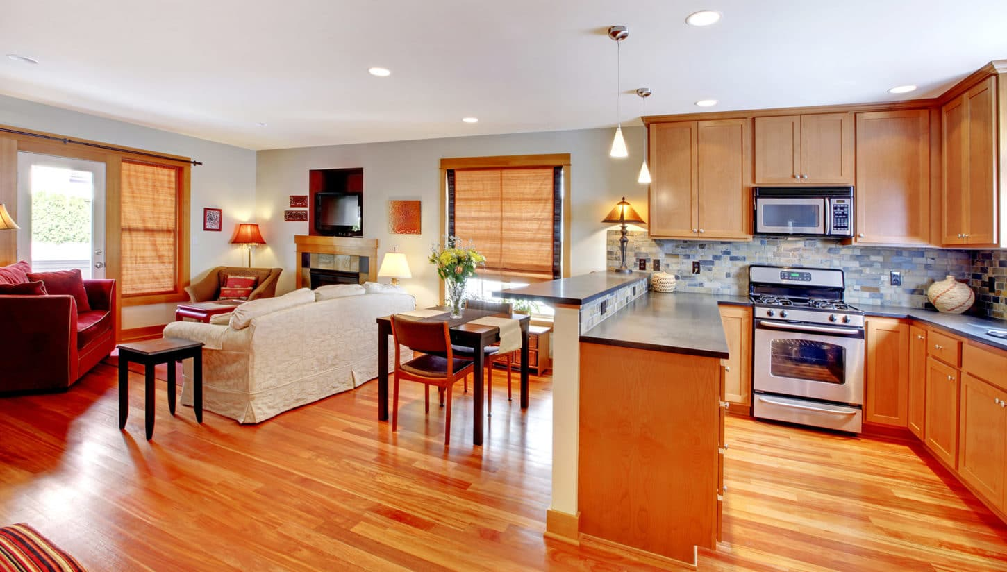 ideal open plan kitchen with modern furnitures