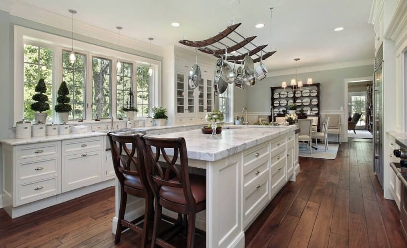 advanced open plan kitchen with pure white cabinets