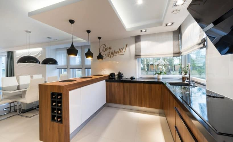 sophisticated open plan kitchen equipped with modern technology