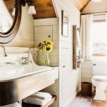 Raw wood shiplap walls Warm bath