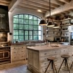 rustic kitchen with interesting and attractive background