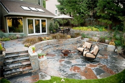 Rustic, Patio, Stone, Outdoor Living, Walls, Steps, Fire Pit