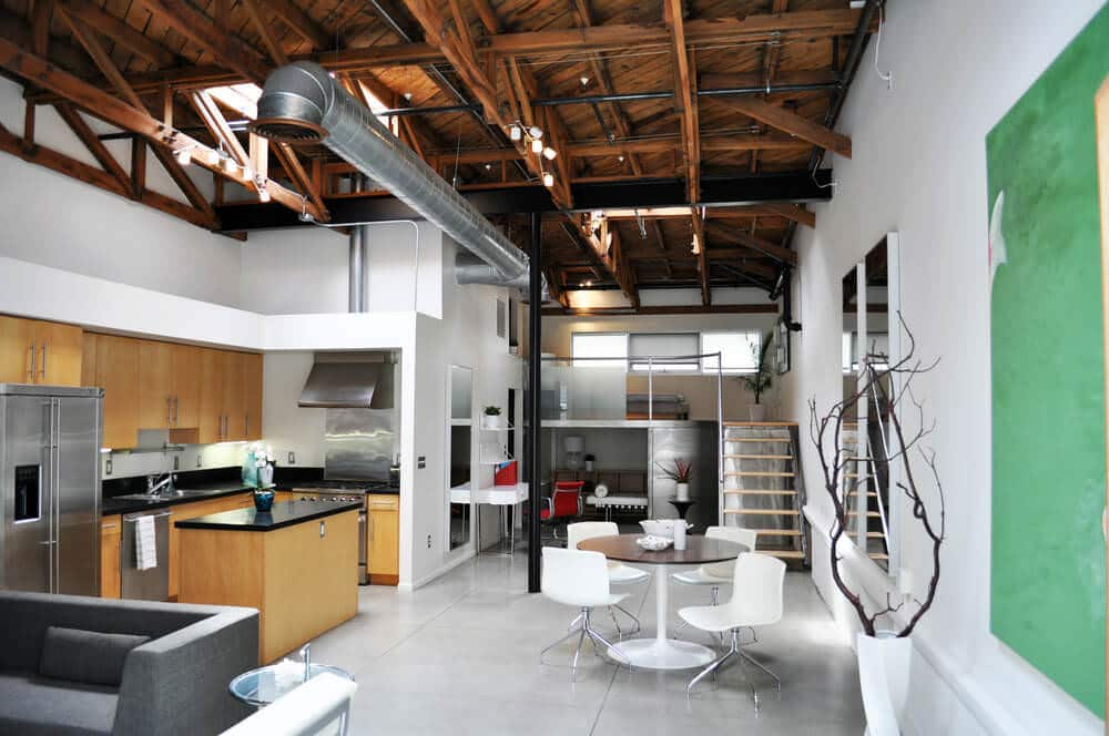 small kitchen space within a spacious industrial modern home