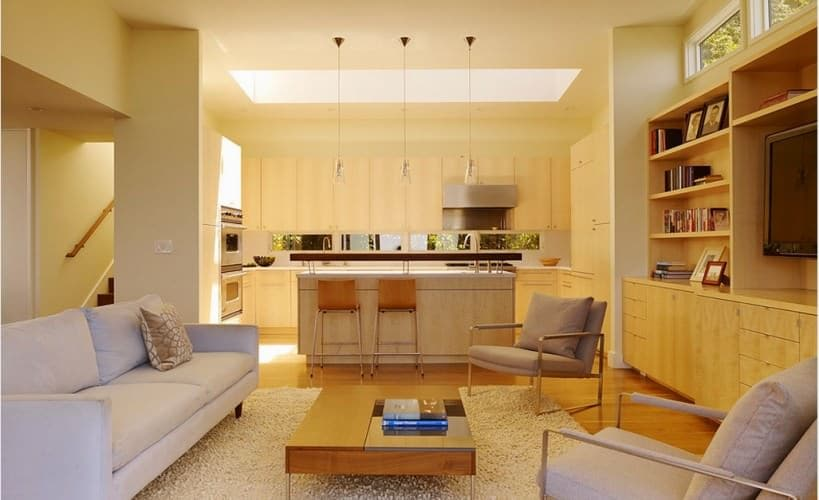 small open plan kitchen and living room to maximize space