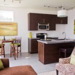 small open plan kitchen and living room to to encourage social interaction