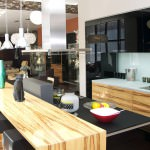 eclectic small open plan kitchen and living room which was artfully collaborated