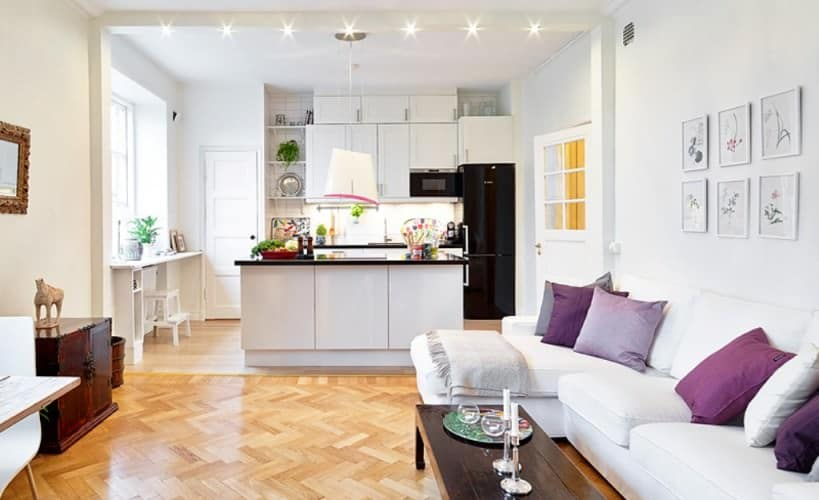 small open plan kitchen and living room which gives opportunity to be in both room