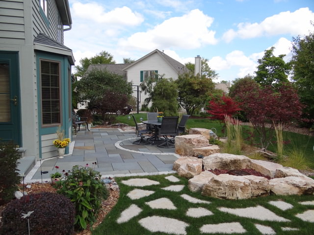 Stone Patio & Water Feature contemporary-patio