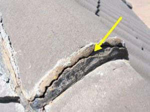 Cracked roof mortar joints